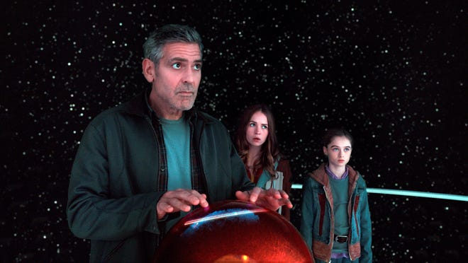 "George Clooney (from left), Britt Robertson and Raffey Cassidy star in ""Tomorrowland."""