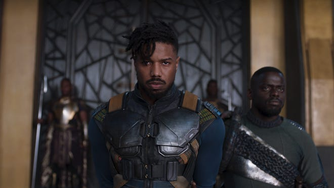 "Erik Killmonger (Michael B. Jordan) and W'Kabi (Daniel Kaluuya) in ""Black Panther."""