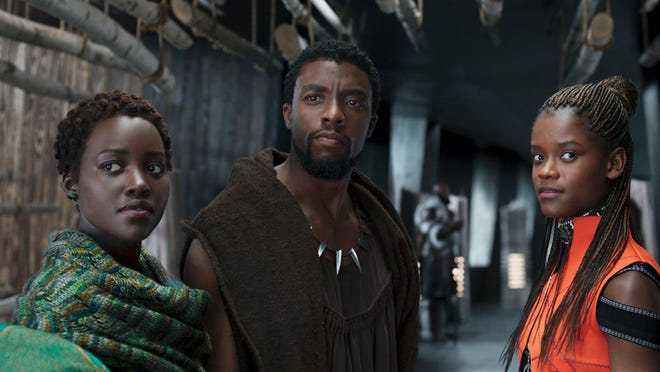 "Lupita Nyong'o, left; Chadwick Boseman, center; and Letitia Wright star in ""Black Panther."""