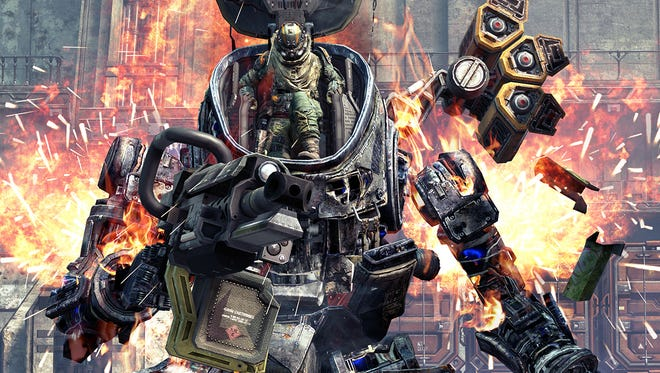 A Titan with pilot in Titanfall game.