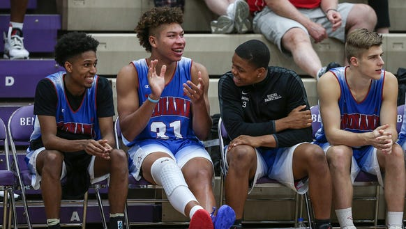 From left, Zionsville's Isaiah Thompson, New Castle's