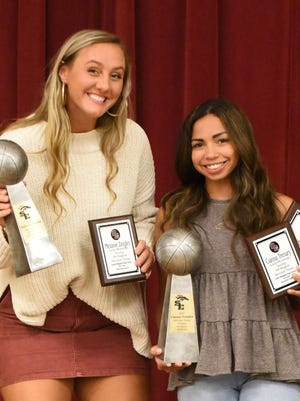 Melanie Zeigler, left, and Cianna Trenary won MVP awards at the South Effingham High School basketball banquet on Sept. 30. Zeigler had 266 points, 234 rebounds and 15 blocks. Trenary had 149 points, 90 steals and 86 assists.