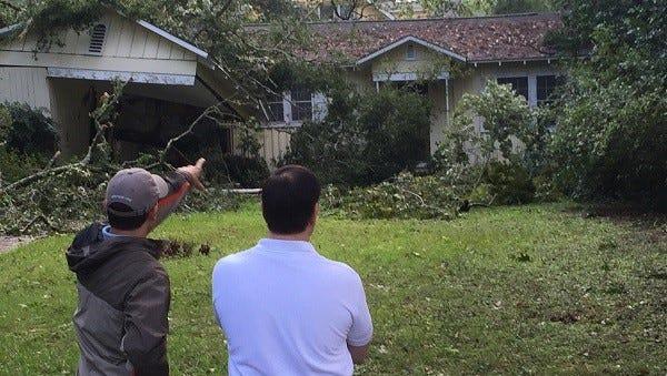 U.S. Sen. Marco Rubio visited a Tallahassee neighborhood in the aftermath of Hurricane Hermine.