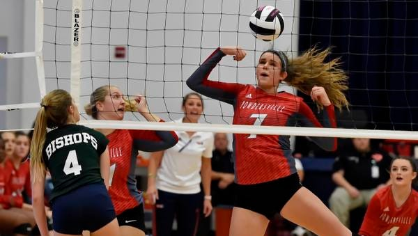 Powdersville's Savannah Roberts has a tough time handling a return. Powdersville plays Bishop England in the Class AAA volleyball state championship match Saturday at Chapin High School.