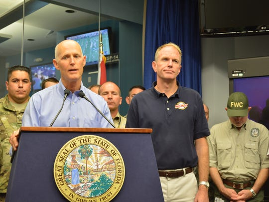Gov. Rick Scott discusses Hurricane Irma evacuation and state preparations at a news conference in the Emergency Operations Center Saturday evening.