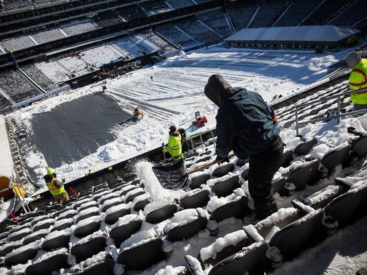 Workers Prepare MetLife Stadium For Superbowl XLVIII
