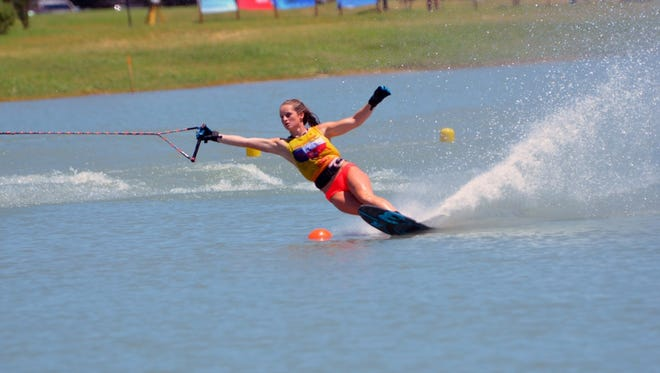 Kennedy Hansen competes at the 2017 Goode Water Ski National Championships in San Marcos, Texas.
