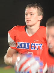 Union City's Trevor Thompson during Union City's 47-20 loss to Hagerstown Friday, Oct. 6, 2017.