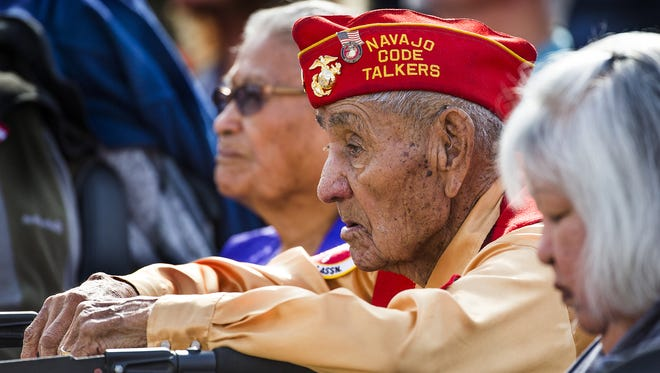 Navajo Code Talker George B. Willie Jr., 91, of Leupp listens to the Pearl Harbor Remembrance Day ceremony at Wesley Bolin Memorial Plaza in Phoenix on Dec. 7, 2016.