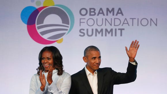 Former president Barack Obama, right, and former first