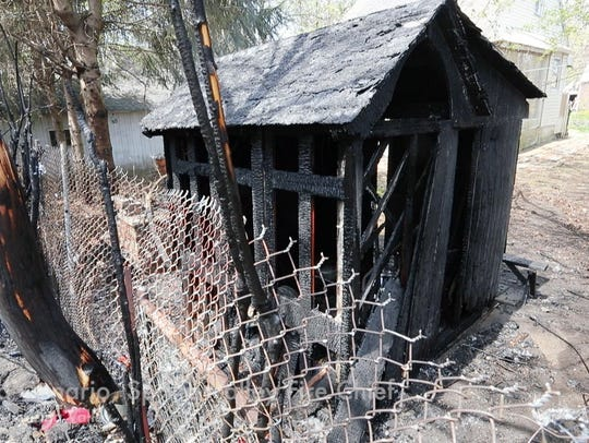A house fire at 57 Division Ave. in Spring Valley was caused after a fire in this shed spread to the house May 3, 2018. The fire was made worse due to the explosion of propane tank. No injuries were reported.