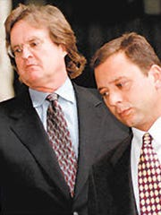 "Gerard J. Capano, right, walks with attorney Edmund D. ""Dan"" Lyons Jr."