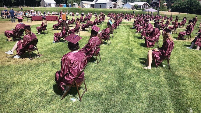 Social distancing was observed during Sunday's Bristol County Agricultural High School Class of 2020 graduation ceremony.  Herald News photo by Charles Winokoor