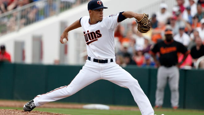 Minnesota Twins relief pitcher Jose Berrios works against the Baltimore Orioles during a spring training baseball game in Fort Myers Fla., on March 8, 2015.