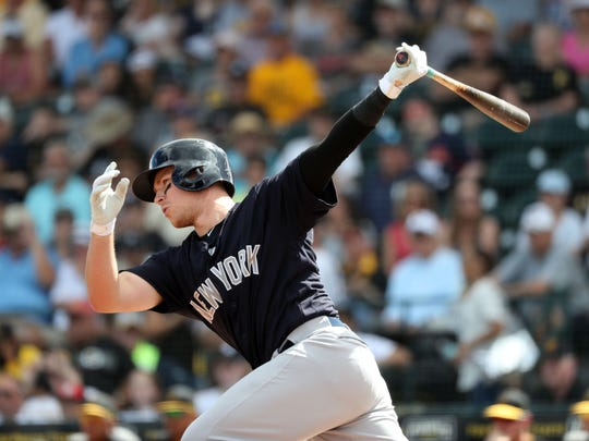 New York Yankees this baseman Brandon Drury (29) singles during the first inning against the Pittsburgh Pirates at LECOM Park at Feb 24, 2018 in Bradenton, Florida.