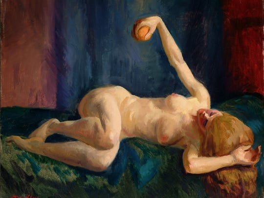 John Sloan's 'Blonde Nude with Orange, Blue Couch'