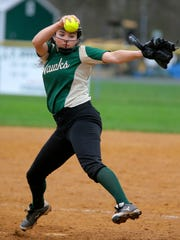J.P. Stevens' Emily Tavares pitches against Monroe on Wednesday, April 12, 2017.