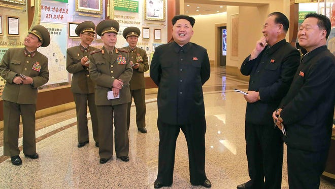 This undated photo released by North Korea's official Korean Central News Agency (KCNA) on Feb. 28, 2015 shows North Korean leader Kim Jong Un at Guards Units Hall at the Victorious Fatherland Liberation War Museum in Pyongyang.