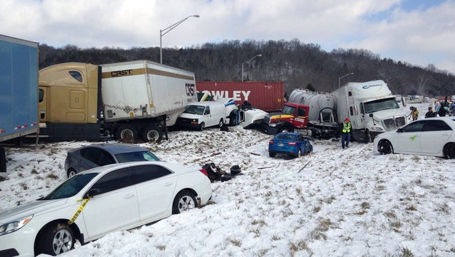 About 30 vehicles were involved in a Tuesday crash on westbound I-74.