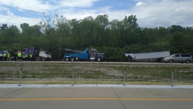 A semi-trailer was ripped apart on I-275 after going off-road Wednesday.