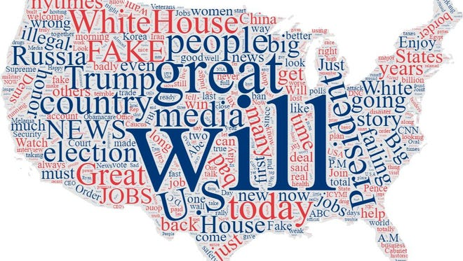 Word cloud of Donald Trump's tweets since his inauguration.