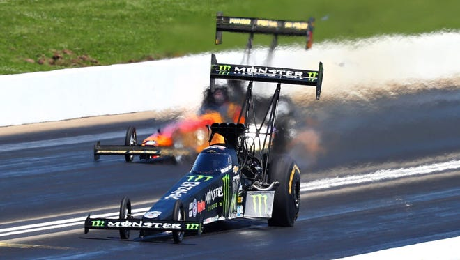 NHRA top fuel driver Brittany Force sets a national speed record of 333.66 mph during the Heartland Nationals at Heartland Park Topeka in Kansas.