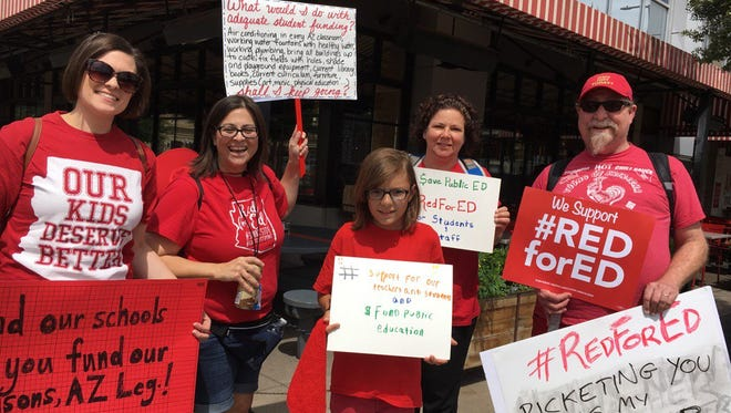 Tucson teachers carpooled to Phoenix for the #RedForEd rally at the state Capitol, but GOP budget that increases school funding will hit homeowners in Tucson's largest school district.