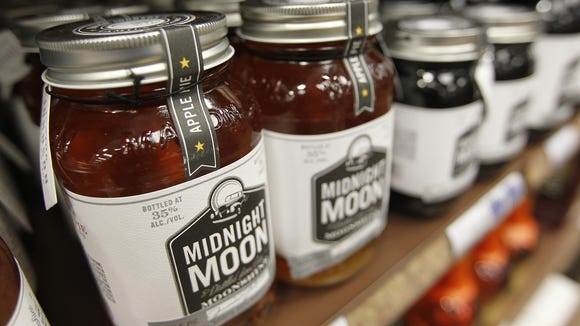 Midnight Moon'­s Apple Pie Moonshine at the ABC store in Jacksonville, N.C.