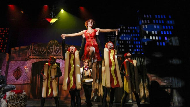 """Michelle Chin as Olive Neal with the ensemble of Phoenix Theatre's """"Bullets Over Broadway."""""""