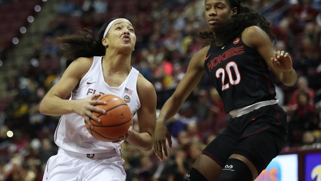 FSU's Nausia Woolfolk drives past Virginia Tech's Michelle Berry during their game at the Tucker Civic Center on Sunday, Jan. 14, 2018.