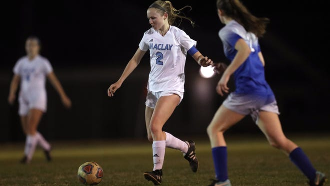 Maclay's Anna Lewis dribbles the ball down field against Rocky Bayou Christian in the Marauder's 2-1 District 1-1A championship win on Friday, Jan. 26, 2018.