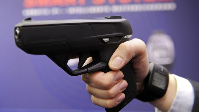 "A ""smart gun"" demo from Armatix in 2010."