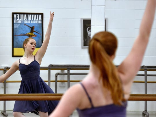 """Ballet Mississippi dancer Frances Anne Fortner performs during a rehearsal of """"Let The Music Dance,"""" which the company will be performing with musician Claire Holley Saturday at Duling Hall in Jackson."""