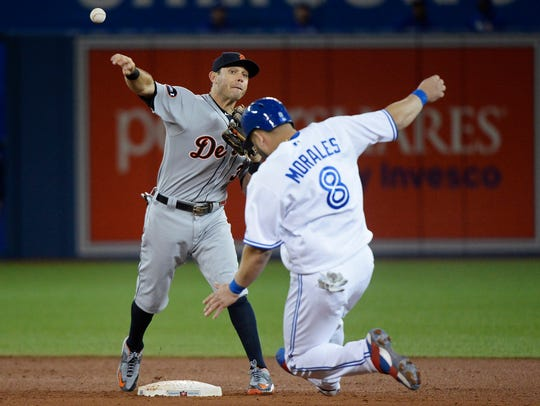 Tigers second baseman Ian Kinsler throws to first after