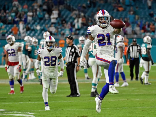 Buffalo Bills free safety Jordan Poyer (21) celebrates after intercepting a pass from Miami Dolphins quarterback David Fales (9) during the second half of last year's season finale at Hard Rock Stadium.