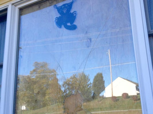 Windows are boarded up in North Codorus Township after this weekend's vandalism.