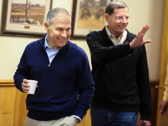 EPA Administrator Scott Pruitt, left,  and Sens. John