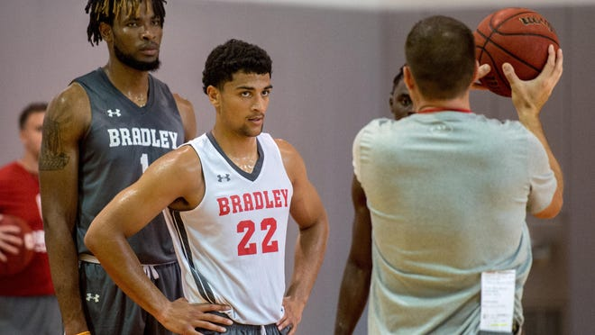 Brian Wardle is anxious to get back on the practice floor with returning players like Ari Boya (left) and Ja'Shon Henry on Monday.