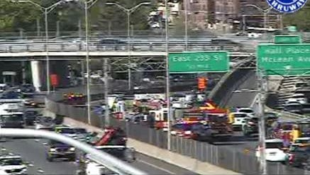 Traffic is diverted on southbound Interstate 87 at Exit 1 in Yonkers after a multi-car crash near Exit 1 closed two lanes, Monday, May 8, 2017, as seen in this state Thruway traffic camera image.