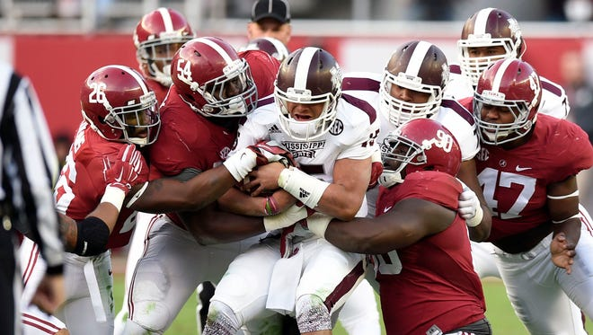 Mississippi State quarterback Dak Prescott will play his final game against Alabama this weekend.