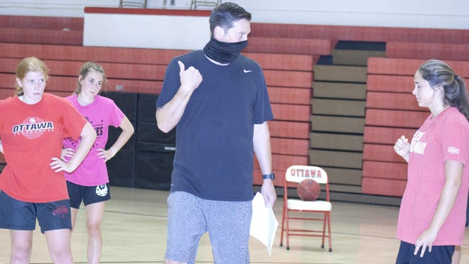Ottawa High School girls basketball coach Matt Schurman gives pointers on where each player is supposed to be in his defensive scheme.