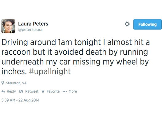 A #UpAllNight Twitter post from reporter Laura Peters August 21, 2014.