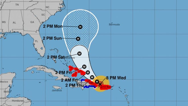 Forecast cone for Hurricane Maria as of the 8 p.m. Wednesday, Sept. 20, 2017 update.
