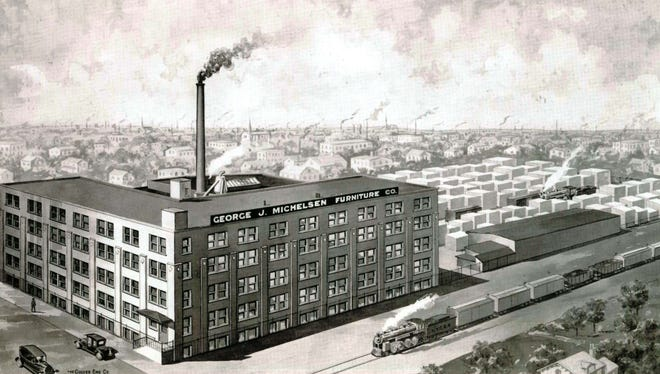 A historic etching of the Michelsen furniture factory at Avenue D and Conkey Avenue.