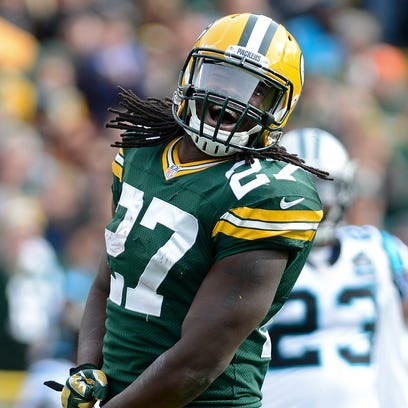 Packers running back Eddie Lacy celebrates a gain in