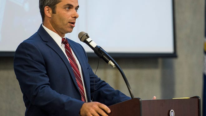 Lafayette Parish Sheriff candidate Mark Garber speaks during a forum at the Lafayette Parish Sheriff's Office Public Safety Complex in Lafayette, LA, Thursday, Aug. 27, 2015.