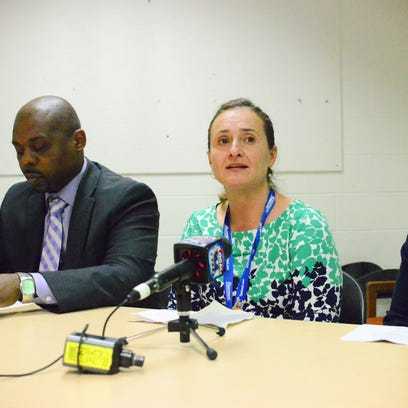 Burlington High School Principal Amy Mellencamp announces her departure to students on Wednesday.