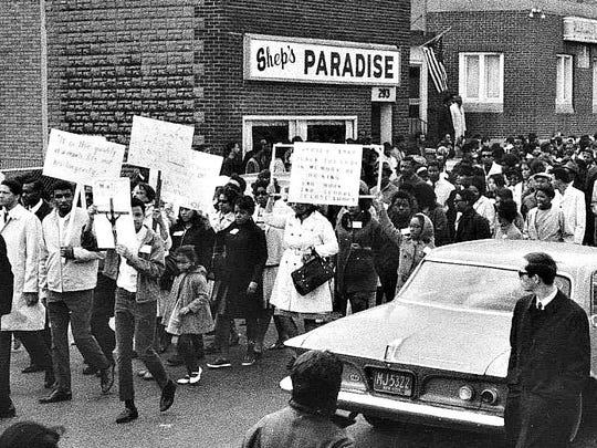 From the archive: The Clarissa Street neighborhood was once the center of black life in the city. On April 9, 1968, the day of the funeral for Martin Luther King Jr., an estimated 3,000 peole marched on Clarissa Street.