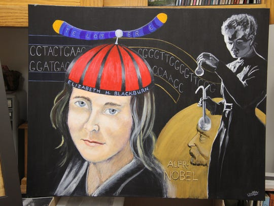 Brockport artist Katherine Weston painted the portrait of Nobel Prize winning scientist Elizabeth H. Blackburn for a collaborative exhibit on women's hats and headdresses at A Different Path Gallery.
