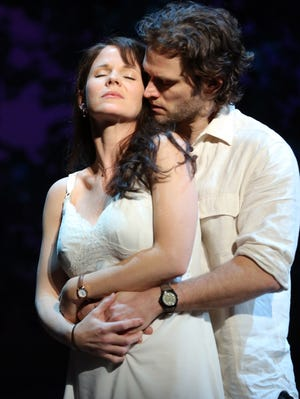 Kelli O?'Hara and Steven Pasquale in a scene from the musical 'The Bridges of Madison County.'
